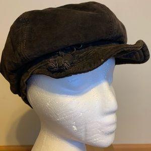 Nine&Co Nine West Brown Soft Leather Newsboy Hat